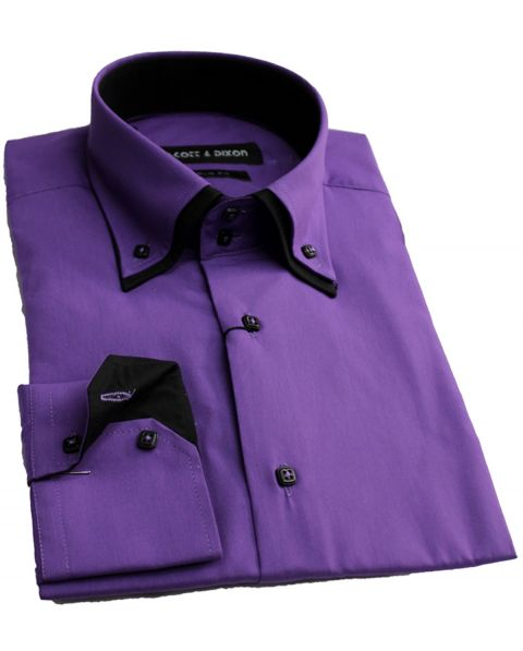 Chemise double col violet