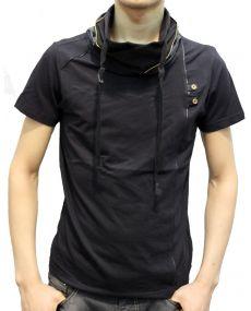 T-shirt homme col montant noir