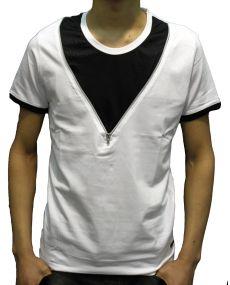 T-shirt col rond zip blanc