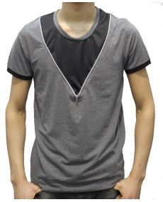 T-shirt col rond zip antracite