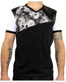 T-shirt homme fleurs noir