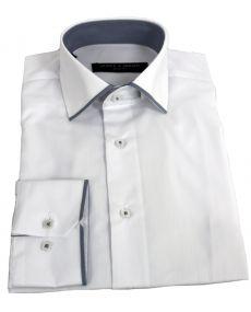 chemise col italien liseret blanc gris