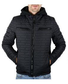 Doudoune homme courte capuche molleton noir