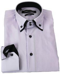 chemise double col lilas noir
