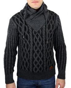 pull homme col fourré antra