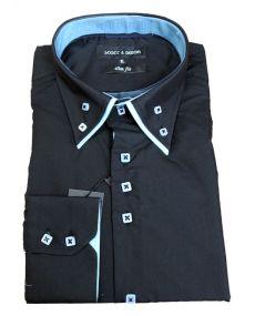 chemise double col noir turquoise