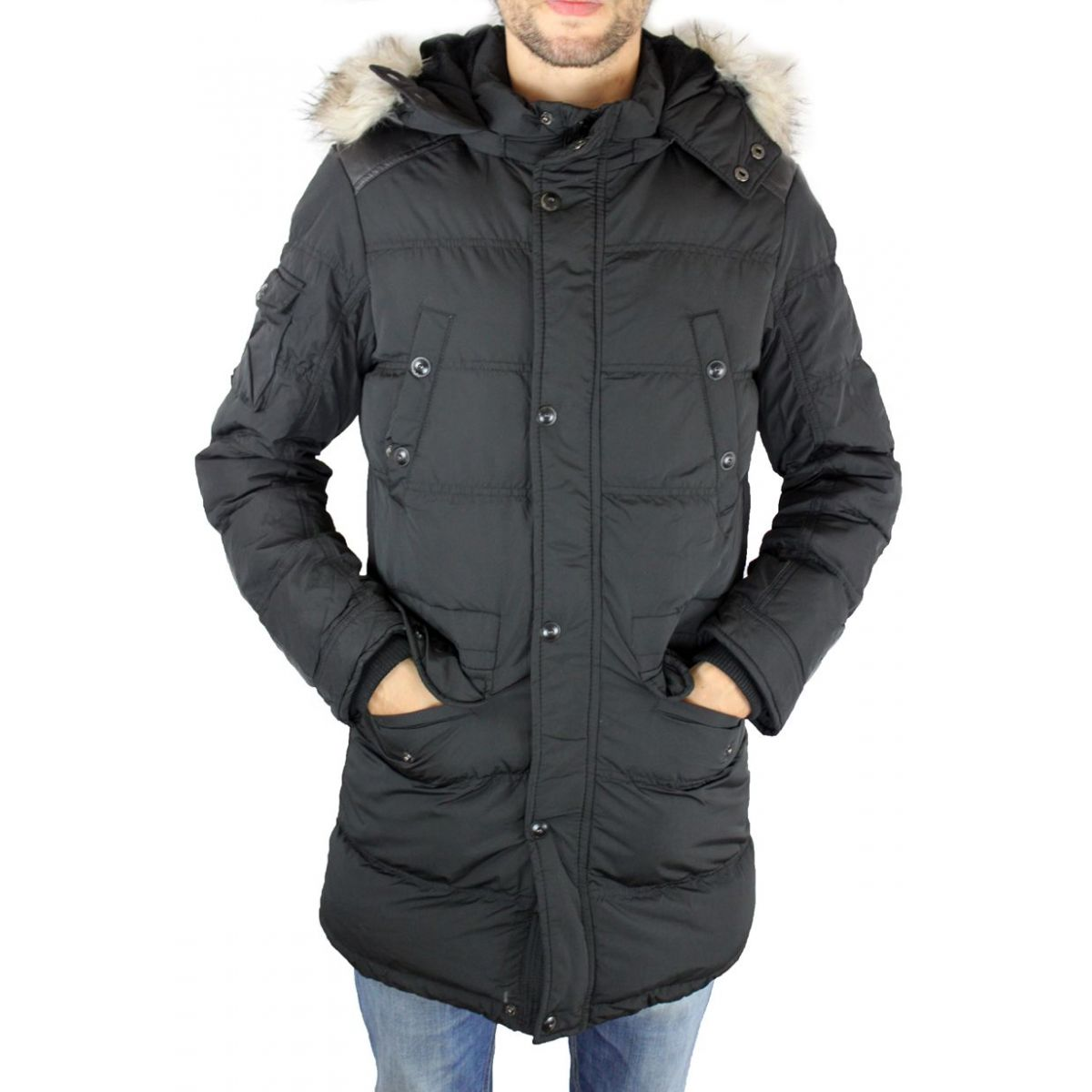 doudoune homme longue noire capuche manteau long homme. Black Bedroom Furniture Sets. Home Design Ideas