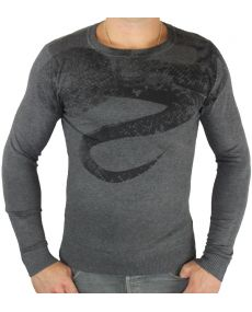 Pull homme col rond antracite