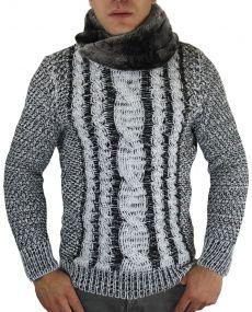 Pull en laine col fourré noir