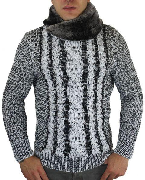 Pull en laine col fourré blanc