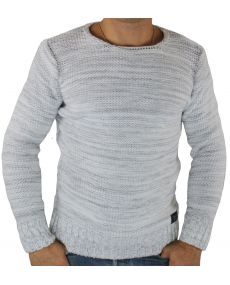 Pull homme col rond blanc