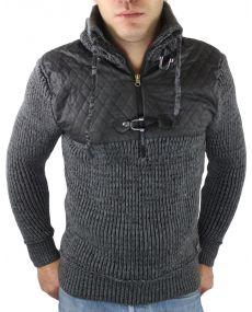 Pull homme fashion col zippé gris