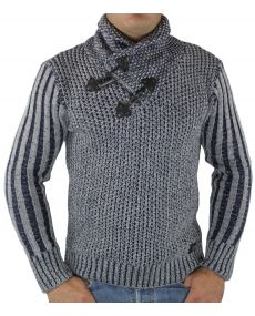 Pull homme col châle marine
