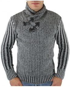 Pull homme col châle gris