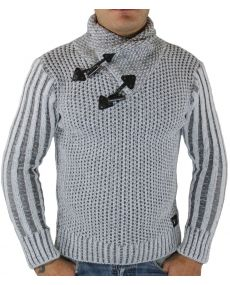 Pull homme col châle blanc