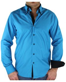 chemise double col bleu noir