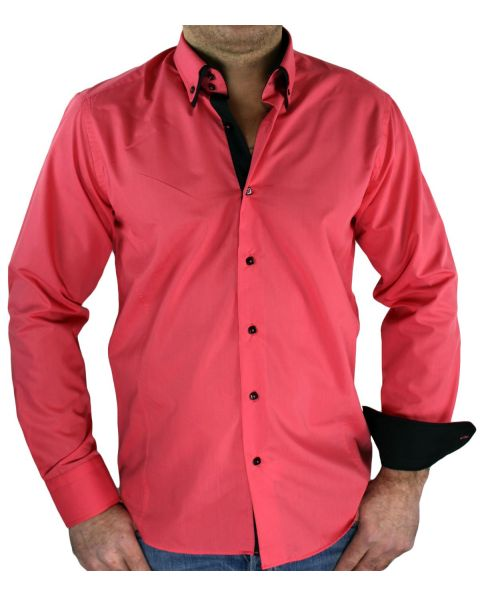 Chemise double col corail