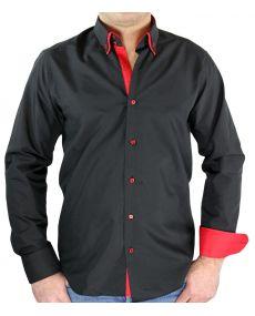 chemise homme noir rouge