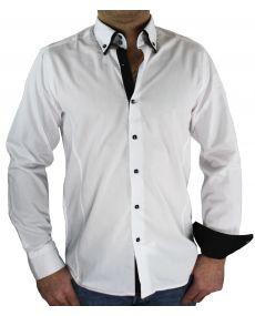 Chemise double col blanc noir