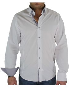 Chemise double col blanc gris