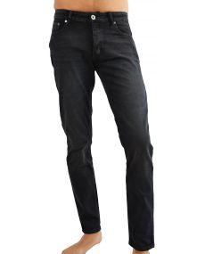 Jean homme noir délavé elasthane