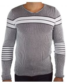 pull homme contrastant blanc