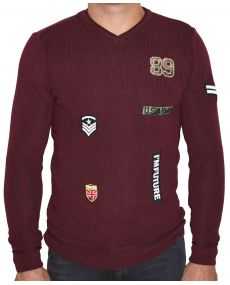 pull homme patch bordeaux