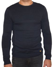 pull homme fine maille marine