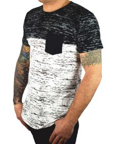 t-shirt homme chiné blanc noir