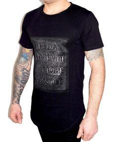 t-shirt homme oversize en relief noir
