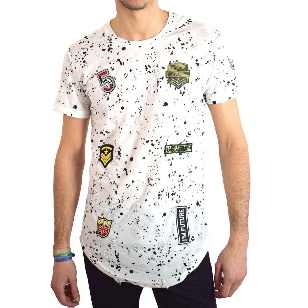 Homme Patch Déchiré Oversize Shirt Blanc T wkNPX8n0O