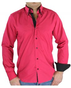 Chemise homme bicolore fuchsia noir