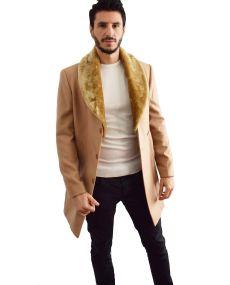Manteaux homme col fourrure beige
