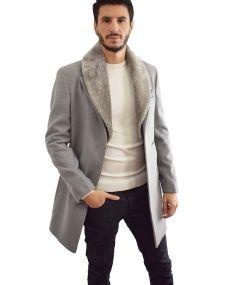 Manteaux gris homme col fourrure gris