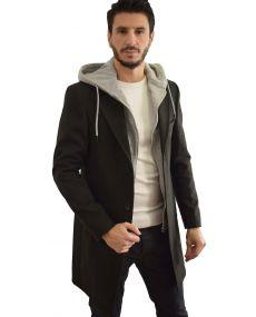 Manteau homme noir capuche amovible