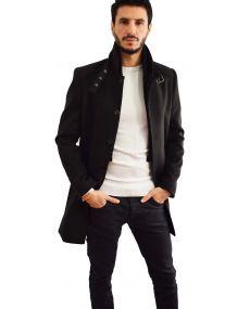 Manteau homme noir col mao mackten